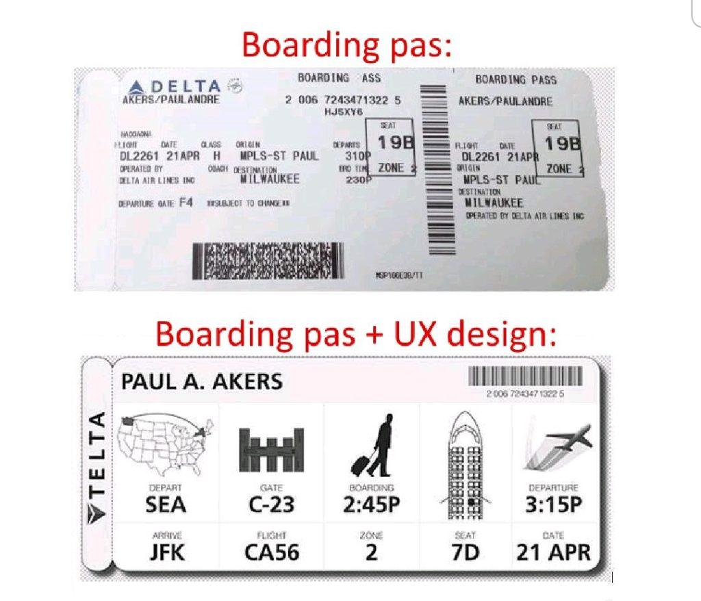 Minder gebruiksvriendelijk v.s. wél gebruiksvriendelijk - de boardingpass